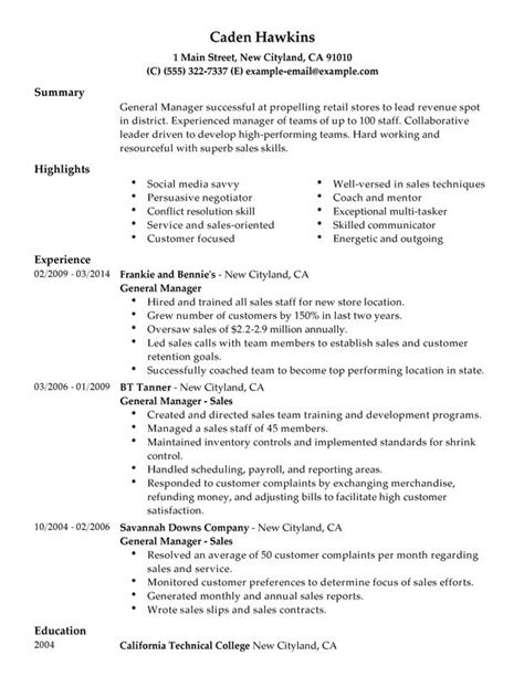 Manager Resume Sles Exles general manager resume sles 28 images general sales