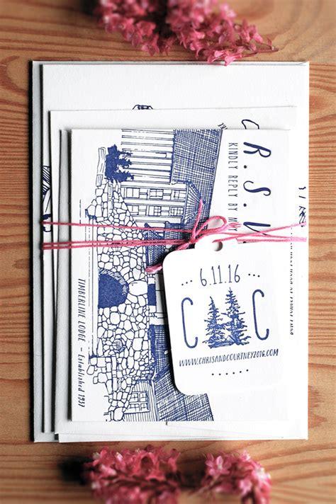 printing press wedding invitations illustrated mountain wedding invitations