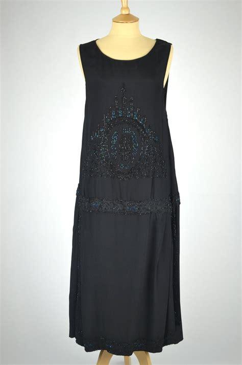 1920s vintage dress black silk with borealis