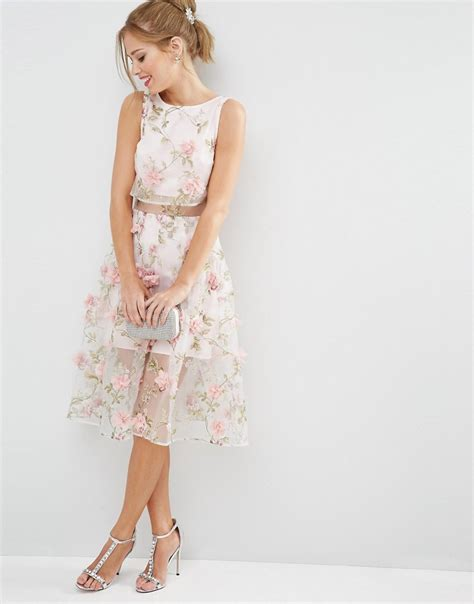 Dress Midi Flower 3 asos 3d flower pink crop top midi dress buyma
