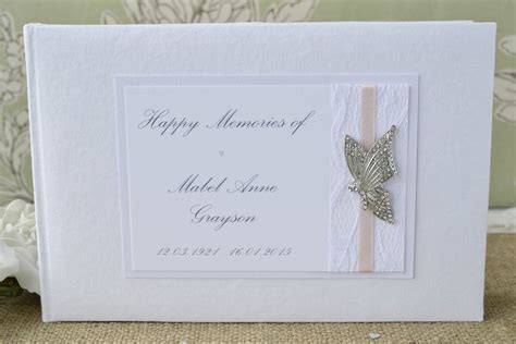 butterfly personalised book of condolence in loving