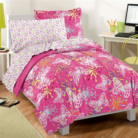butterfly party pink girls bedding comforter sheet set twin ebay
