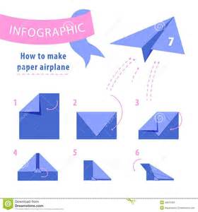 How To Make Airplane Out Of Paper - infographic to make paper airplane stock