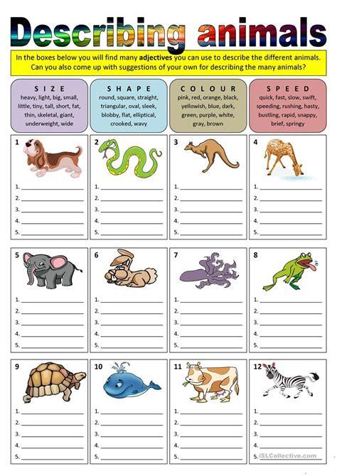 esl printable animal worksheets describing animals adjectives worksheet free esl