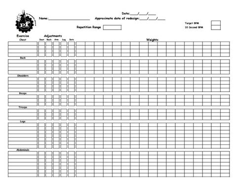 Workout Worksheet by Worksheet To Record Workouts From Planet