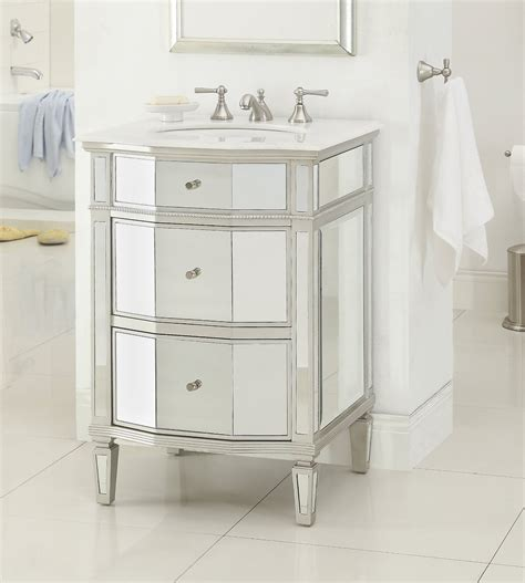 Bathroom Mirror Vanity Cabinet Adelina 24 Inch Mirrored Bathroom Vanity Imperial White Marble Counter Top White Mount