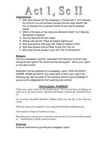 Macbeth: Act 1 Scene 2: Newspaper Task Worksheet
