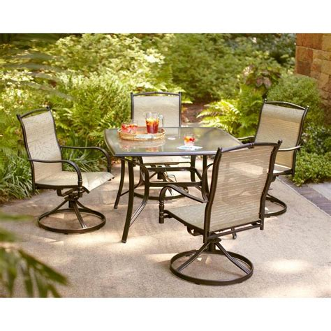 Hton Bay Altamira Tropical 5 Piece Patio Dining Set Patio Dining Sets Home Depot