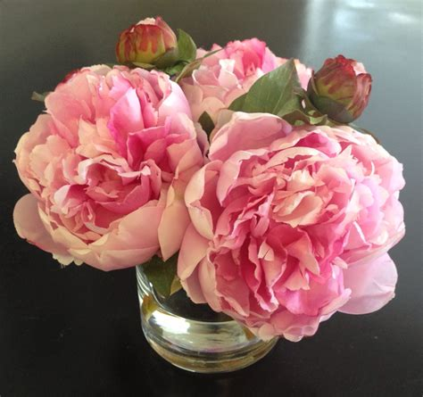 How To Arrange Peonies In A Vase by Silk Floral Arrangement Faux Pink Peonies X3 In
