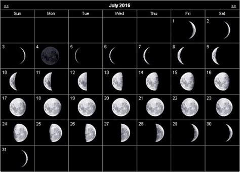 printable calendar 2016 with moon phases moon phases july 2016 calendar moon schedule printable