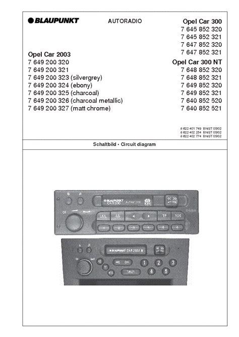 Blaupunkt Opel Car 2003 300 300nt Service Manual Download