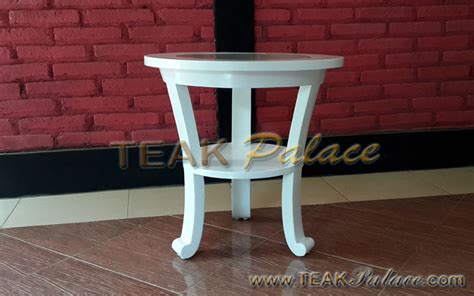 Meja Sudut Kayu meja cantik sudut teras kayu jati warna putih murah harga