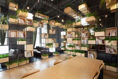 designboom cafe recycled steel bars form modular caf 233 interior by penda