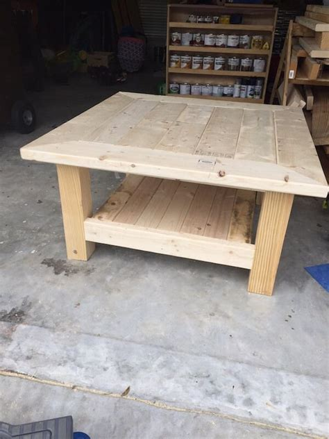 square coffee table  planked top  diy plans
