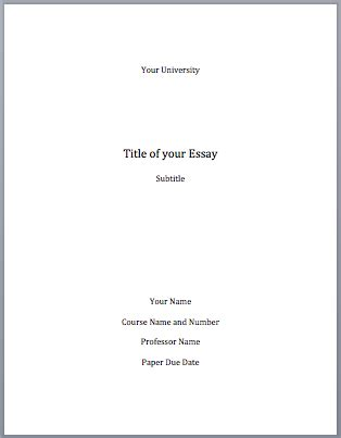 Exles Of Cover Pages For Essays by Mla Format Cover Page Mla Format