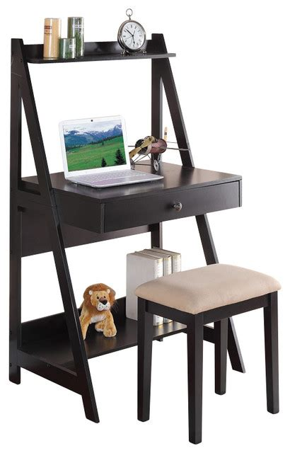 2 pc black student small writing desk and stool w large