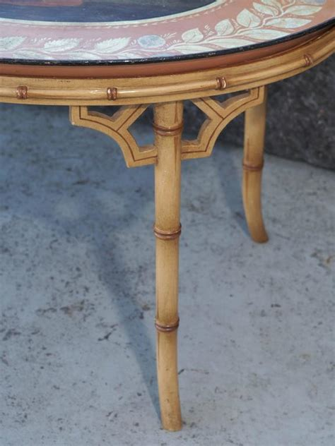 baronet coffee table regency tole tray on later faux bamboo stand at