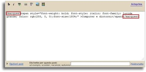 testo scorrevole html computer e dintorni come inserire testo scorrevole in un post