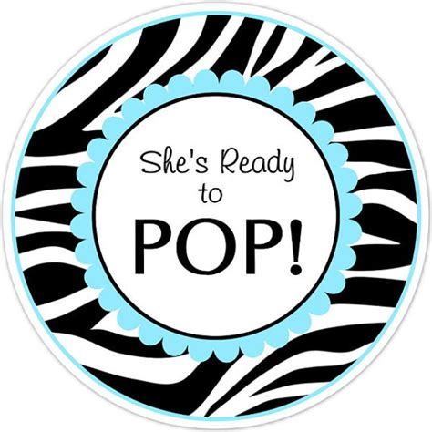 ready to pop stickers template baby shower ready to pop labels zebra and blue by