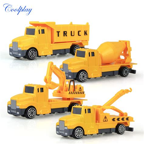 Harga Grosir Diecast Construction Car 4 Pcs Diecast Set coolplay 4pcs mini metal construction vehicle alloy diecast car toys engineering truck