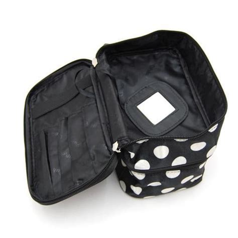 Toiletry Bag With Mirror Duafire Cosmetic Bag Layer Dot Pattern Travel