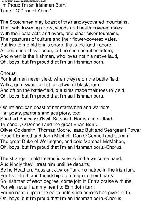An American Lyrics Time Song Lyrics For 05 I M Proud I M An Irishman Born