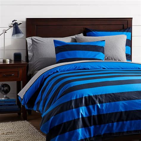 rugby stripe bedding rugby stripe duvet cover navy bright blue twin pbteen
