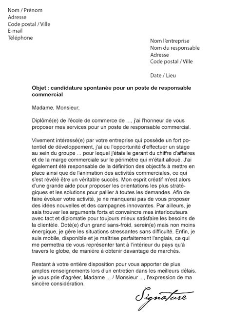 Lettre De Recommandation Marketing Lettre De Motivation Responsable Commercial Mod 232 Le De Lettre