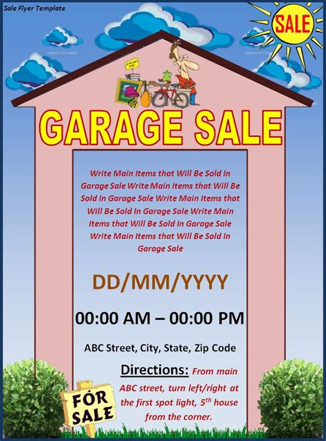 garage sale flyer template archives templates