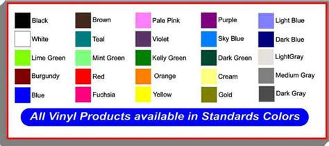 basic solid color chart vinyl products