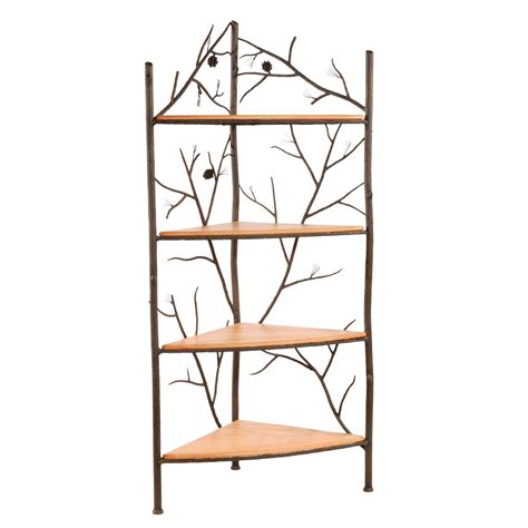 corner bakers rack with cabinet wrought iron rustic pine corner bakers rack by stone