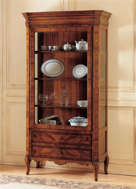 wooden showcase showcase in decorated wood 800 french style idfdesign