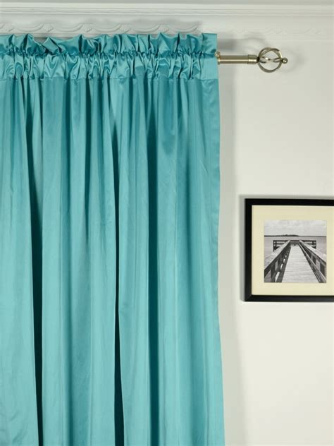 rod pocket drapery waterfall solid blue rod pocket faux silk curtains