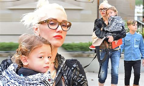 gwen stefani takes two of her children to church without