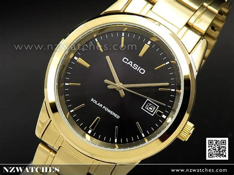 Casio Mtp Voo2g Gold buy casio solar powered black gold stainless steel band mtp vs01g 1a mtpvs01g buy