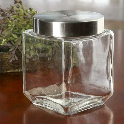 glass kitchen canister square glass canister kitchen and bath home decor