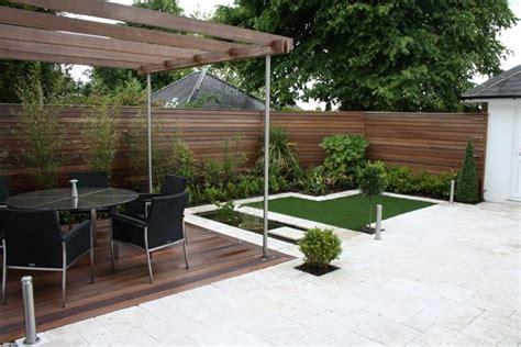 Medium Sized Garden Balau Deck Pergola And Fencing Medium Sized Garden Ideas