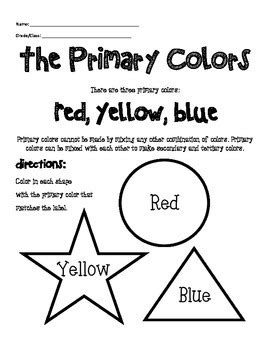 Pdf Cortana What Are The Primary Colors by Primary Color Worksheet By Mrsallainart Teachers Pay