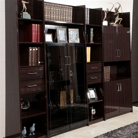 oppein black and high gloss bookcase sg11317