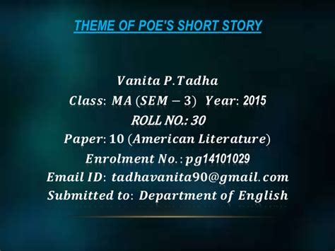 different themes of a short story theme of poe s short story