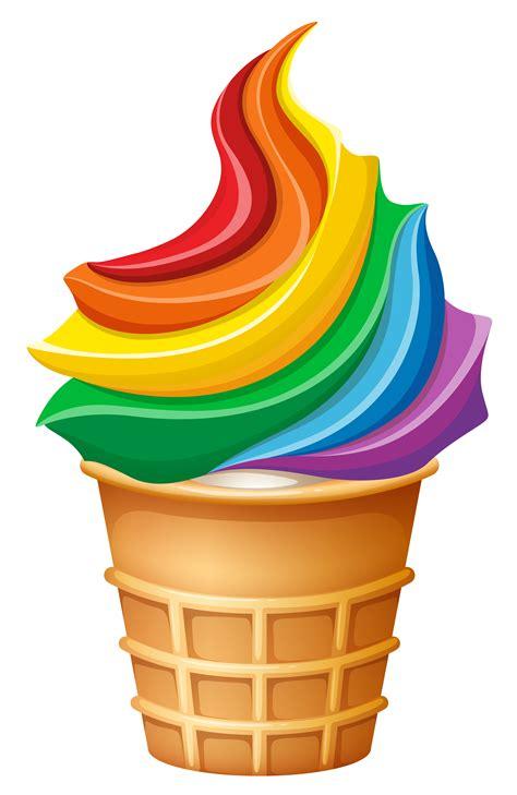 rainbow ice cream  cone   vectors clipart