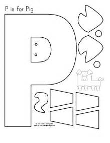 Pig Template For Preschoolers by Free Letter P Worksheets For Preschoolers Coloring