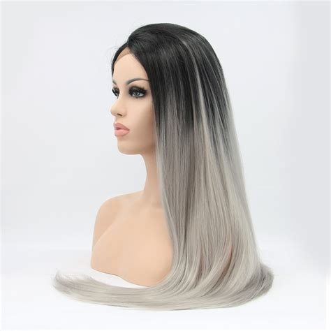 brown long hair with grey aroung front stylish straight dark roots grey synthetic lace front wig
