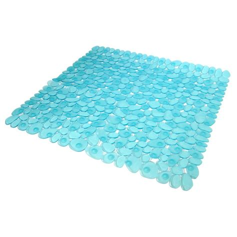 interdesign pebblz square shower mat in blue 80211cx the