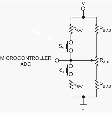 read resistor variabel read switches and a potentiometer setting with one microcontroller input pin