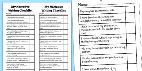 biography writing checklist ks2 narrative writing student checklist narrative story naplan