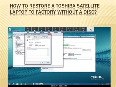 restore  toshiba satellite laptop  factory