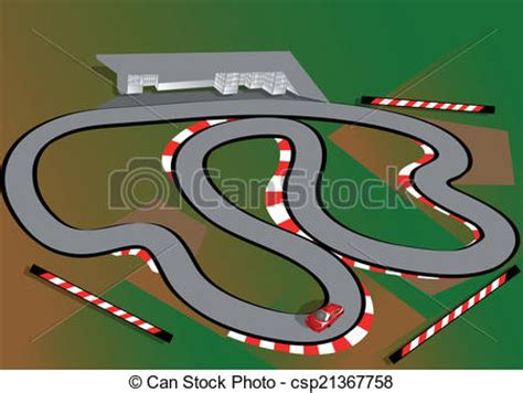 car test track red car  gray road