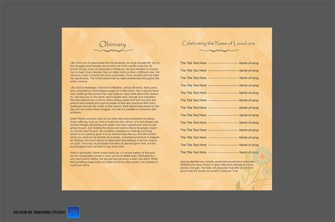 Funeral Program Bi Fold Template Brochure Templates On Creative Market Bi Fold Wedding Program Template