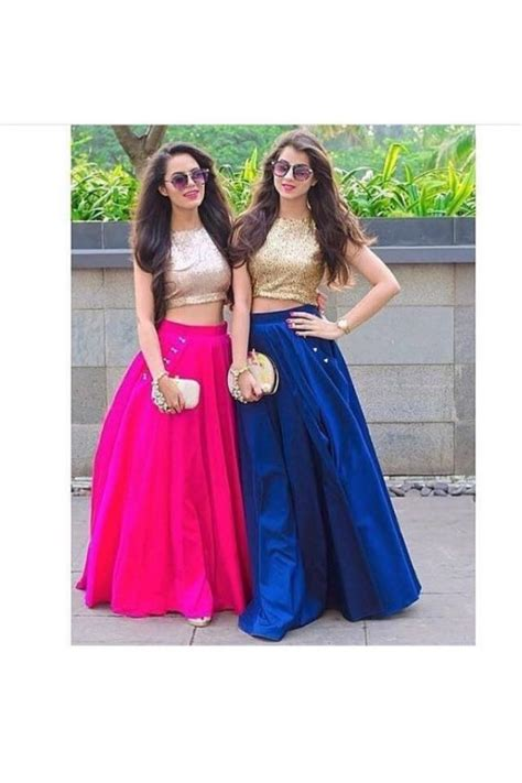 Bollywood Replica   Party Wear Silk Crop Top & Skirt   VS066
